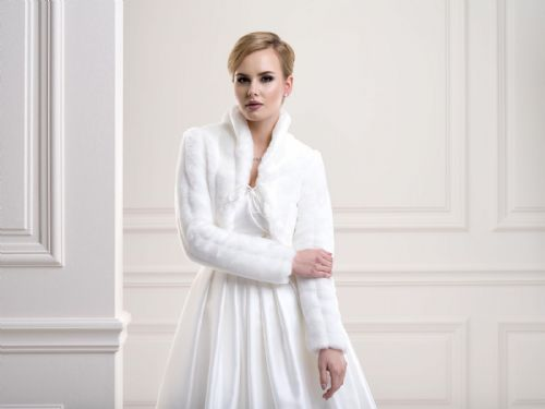 Eliza Faux Fur Bridal Jacket, Fur Wedding Bolero